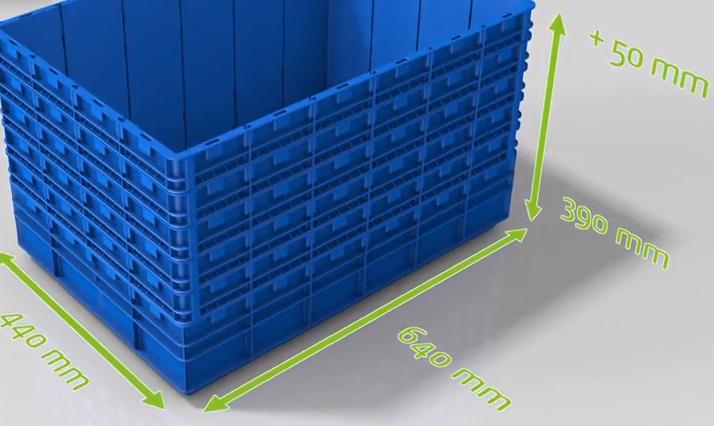 Высота ящика Kardex VBM BOX может быть увеличена с шагом 50 мм с помощью вставных рам. Поперечные и продольные перегородки также бывают разной высоты.