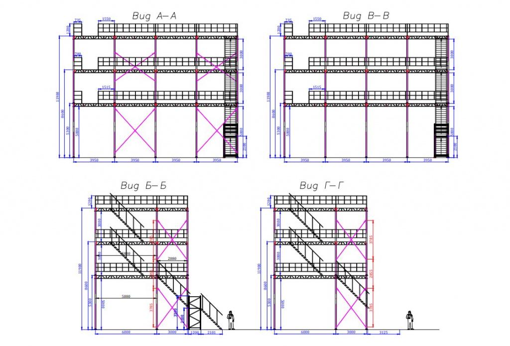 Стеллажный комплекс 4 этажа - стеллажи с мезонином, последний уровень 11 метров высотой - КИИТ